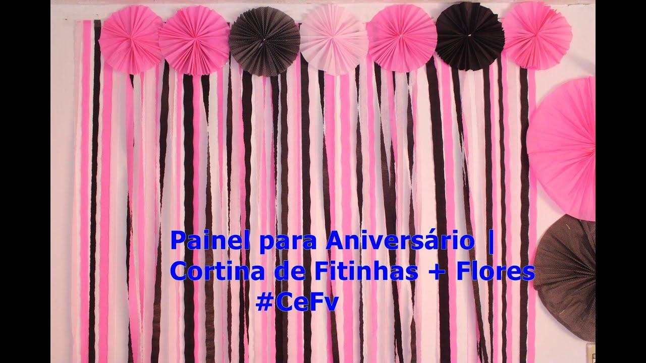 Painel para anivers rio cortina de fitinhas flores for Colocar papel mural