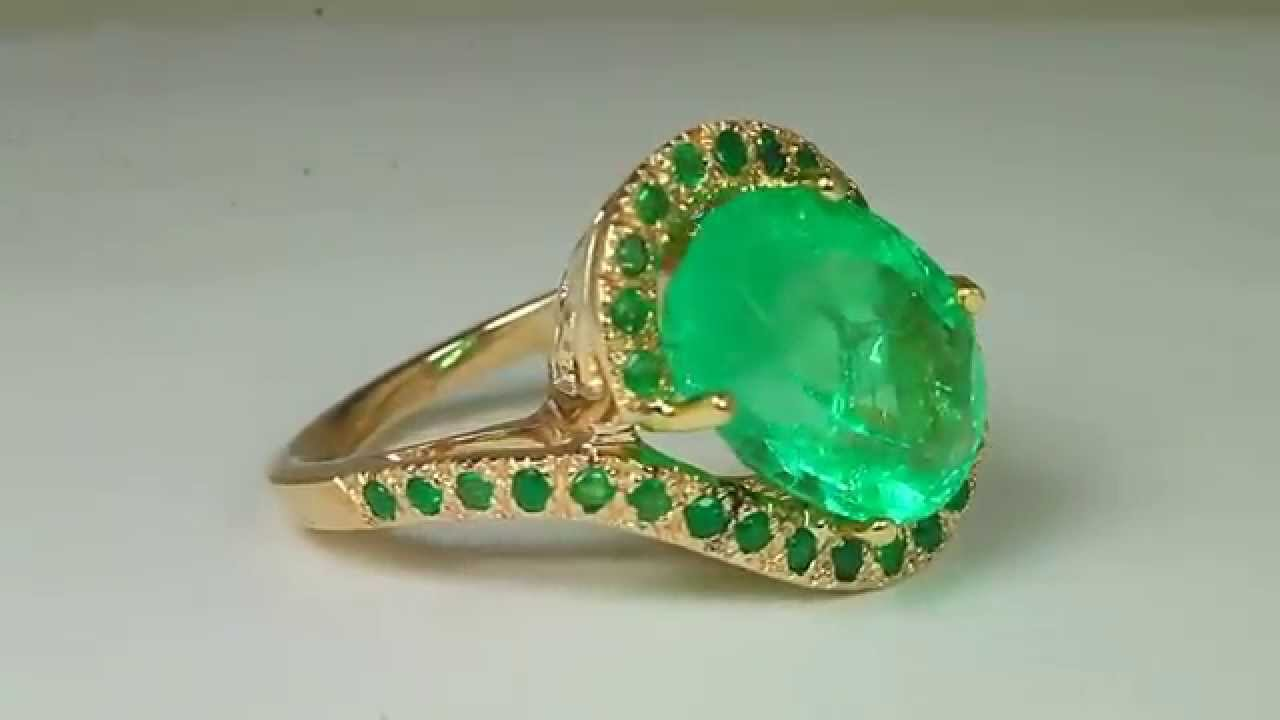 1020tcw Colombian Emerald & Diamond Engagement Ring 14k