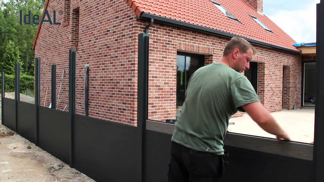 montage ideal aluminium en wpc tuinafscheiding youtube. Black Bedroom Furniture Sets. Home Design Ideas