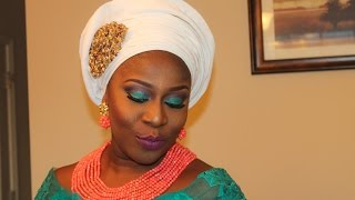 tiny pleats aso oke gele and party makeup