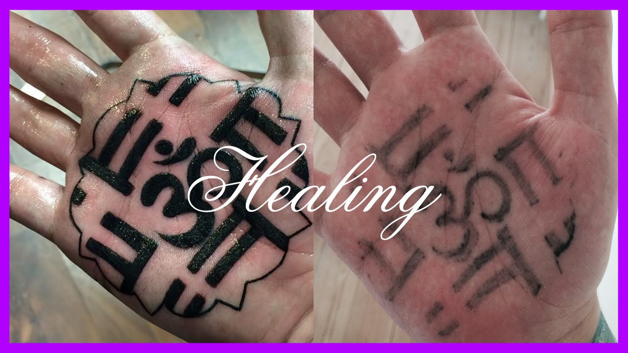 1 month of palm tattoo healing youtube for Do tattoos on hands fade
