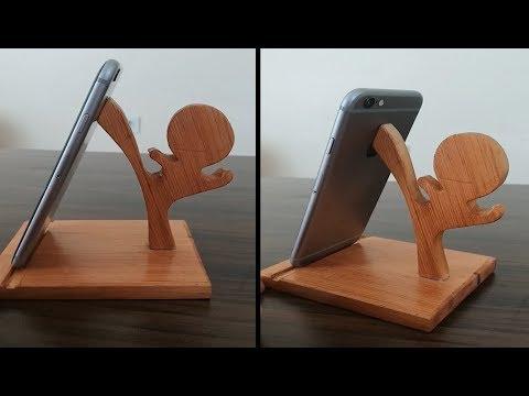 Homemade wood phone stand.