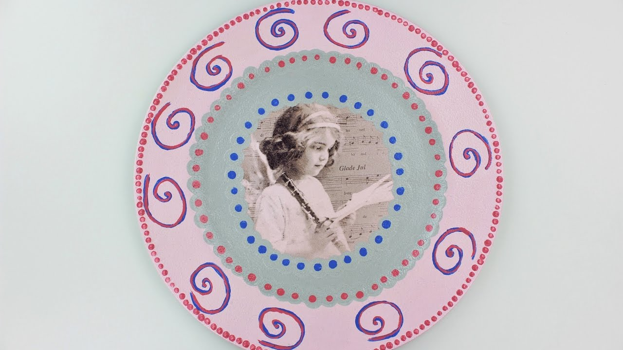 Decoupage plastic plate , diy decoupage plates , Decoupage Tutorial ,  Decoupage for beginners