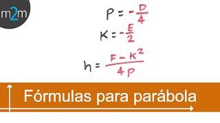 Elementos de la parábola, dada ec. gral. │fórmulas