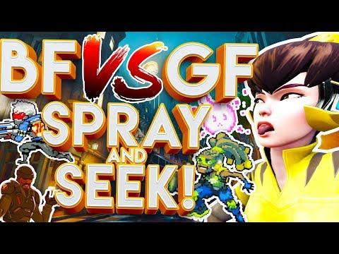 OVERWATCH BF VS GF SPRAY AND SEEK CUSTOM GAMEMODE!?