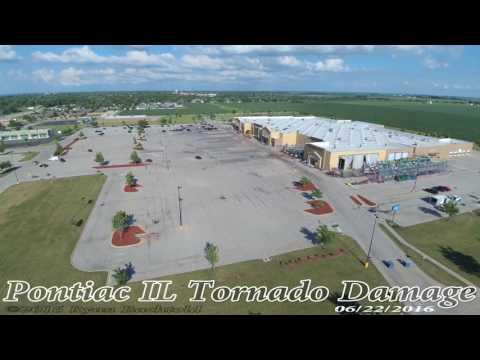 Pontiac IL Tornado Damage 4k Drone Footage