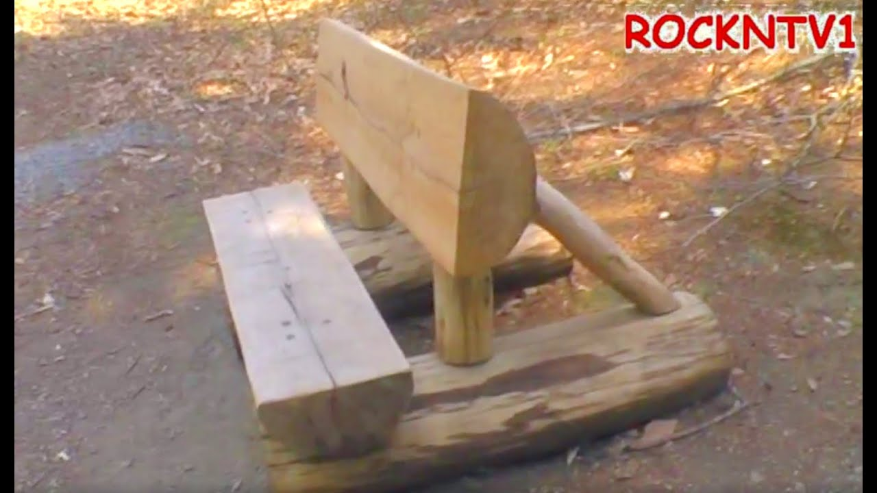 Log Bench Home Made, A Rustic Split Log Bench Project   YouTube