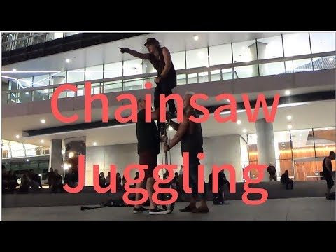 [Chainsaw Juggling] Best street performance in Sydney, Darling Harbour, NSW, Australia gopro
