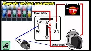 Como ligar corta corrente anti furto caseiro usando apenas um relé auxiliar