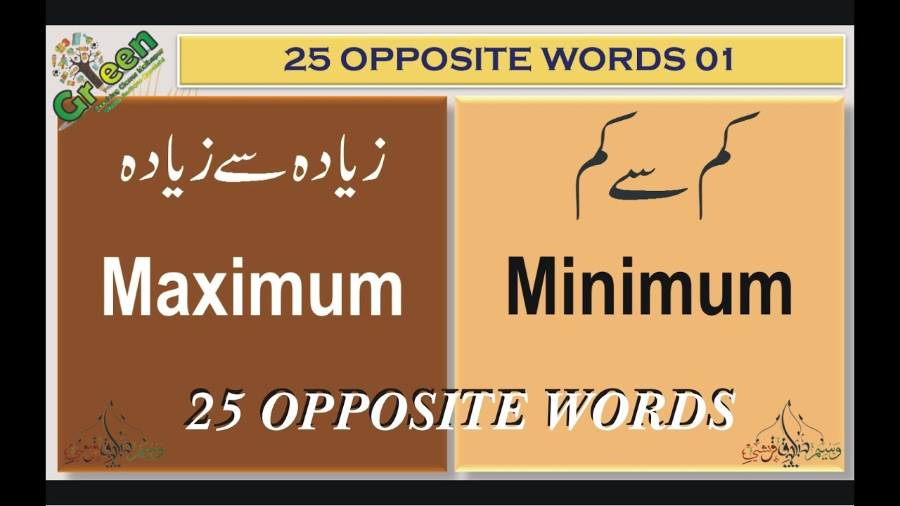 25 Opposite Words English 01 | Opposite Words | English Antonyms With Urdu  Meanings |