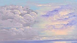 два способа нарисовать освещенные тучи, кучевые облака