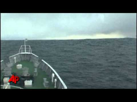 Raw Video: Japanese Ship Rides Tsunami Waves