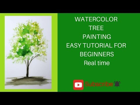 HOW TO PAINT WATERCOLOR TREE  EASY TUTORIALS FOR BEGINNERS #watercolor #easytutorials #tree painting