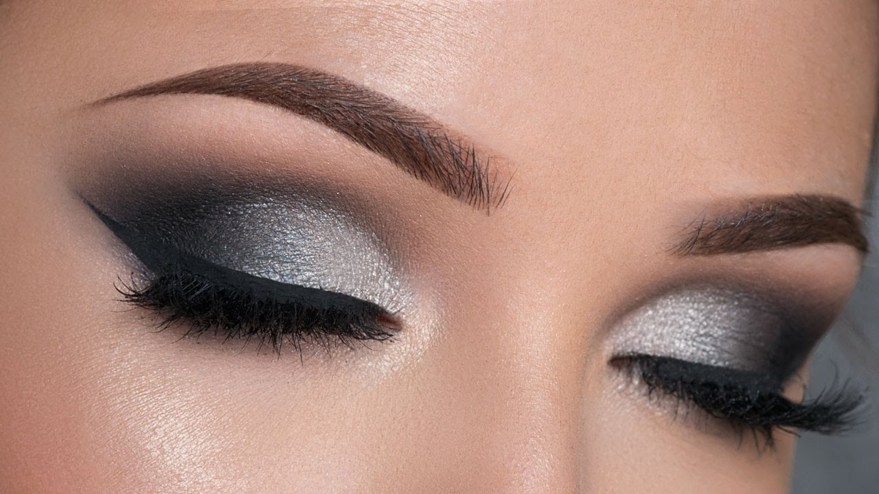 Night Out Makeup Tutorial Black Silver Smokey Eye Youtube