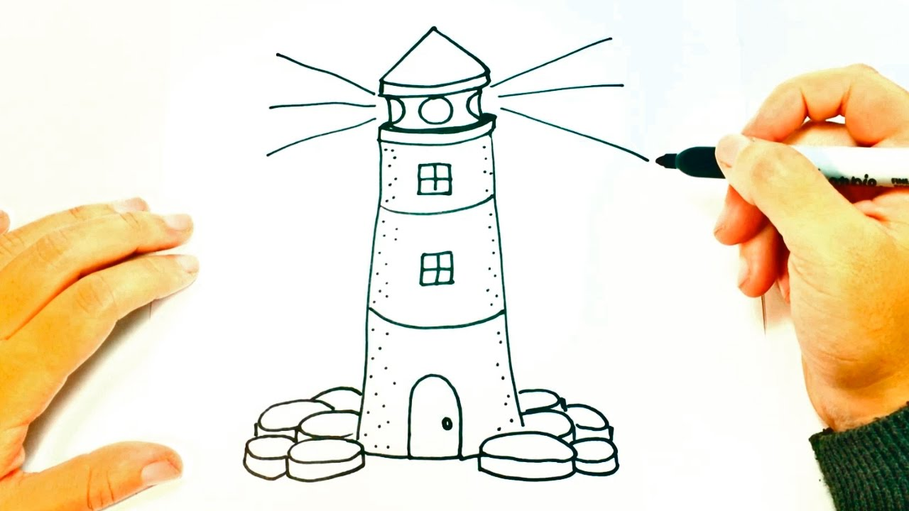 how to draw a lighthouse for kids lighthouse easy draw tutorial