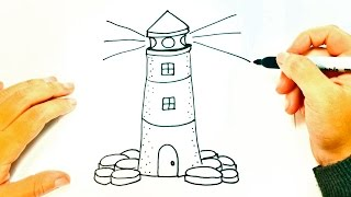 How to draw a Lighthouse for Kids | Lighthouse Easy Draw Tutorial