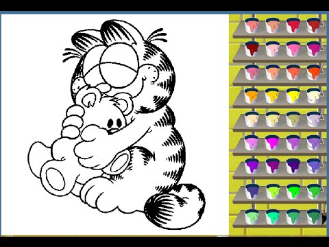 Garfield Coloring Pages - Garfield Colouring Pictures Game - YouTube