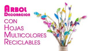 La Mejor Decoración de Arbol con Hojas Multicolores Reciclables