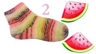 2 Вязание носков крючком Пятка Crochet socks