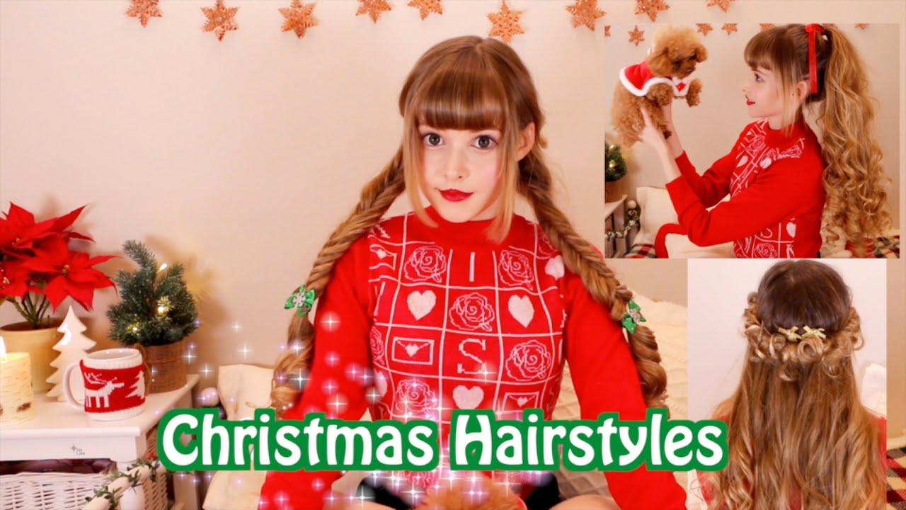 easy, fast & cute christmas hairstyles - youtube