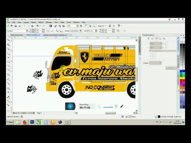 truck cuting sticker desain kekinina coreldrawx7