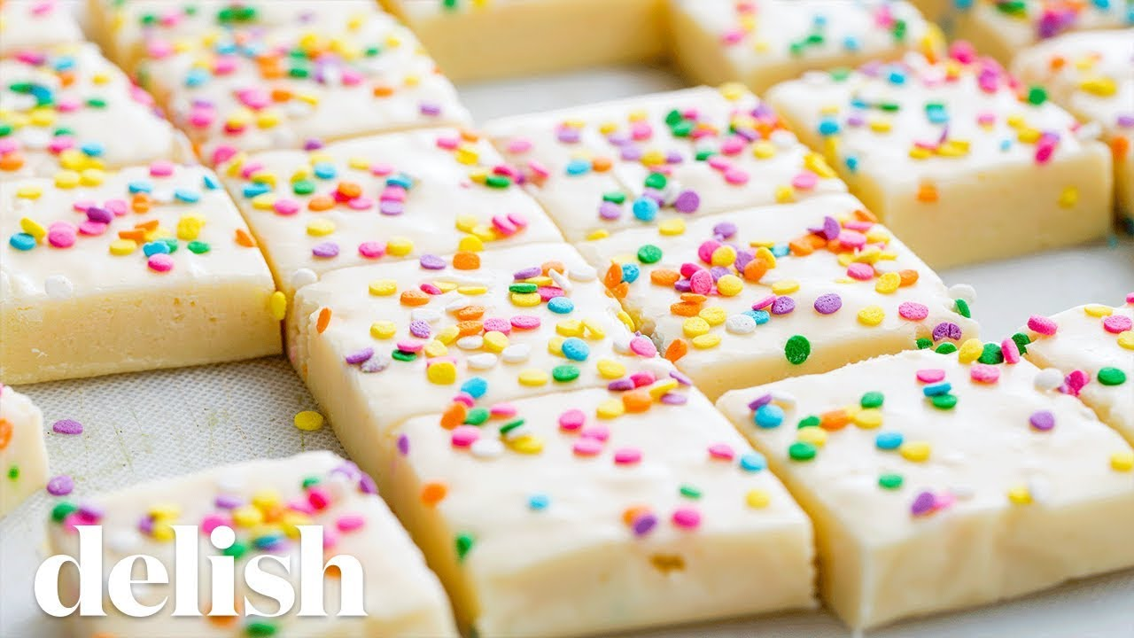 How To Make Birthday Cake Fudge Delish Youtube