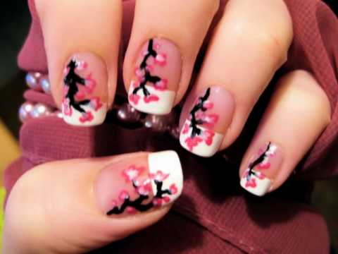 Easy Cherry Blossom Nails - Easy Cherry Blossom Nails - YouTube