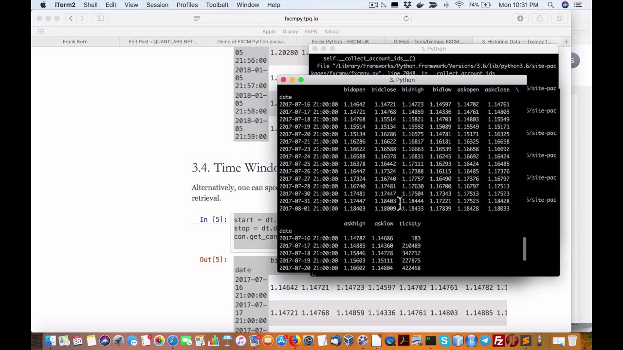 Demo of FXCM Python package for forex trading - QUANTLABS NET