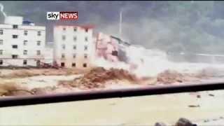 Sichuan Province, China: Floods Trigger Landslide