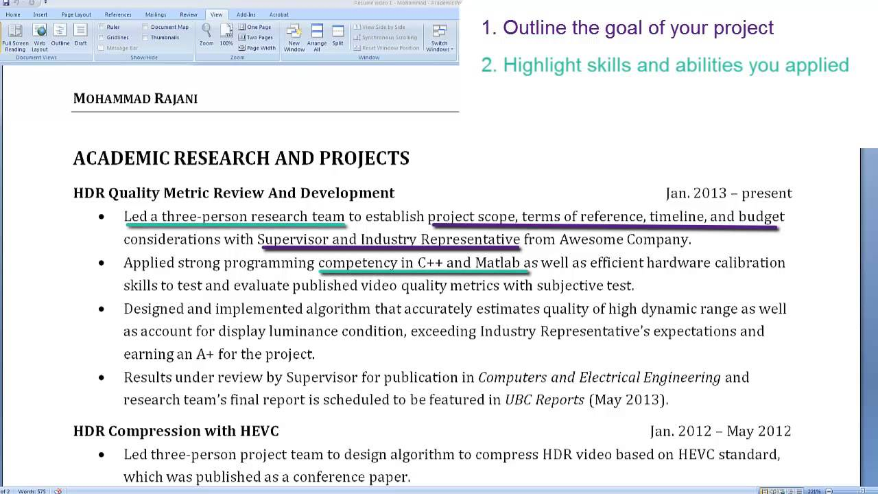 resume Projects On Resume graduate student resumes highlighting an academic project youtube project