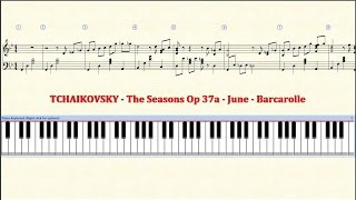 Piano Tutorial Sheet - 06 - TCHAIKOVSKY - June - Barcarolle - HD
