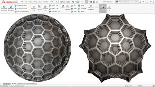 How to make 'Advance Honeycomb Pattern on Sphere' in Solidworks 2016
