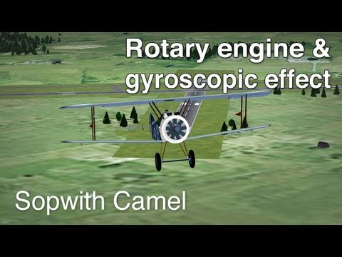 Rotary Engine & Gyroscopic Effect - Sopwith Camel (Real Time Recording)