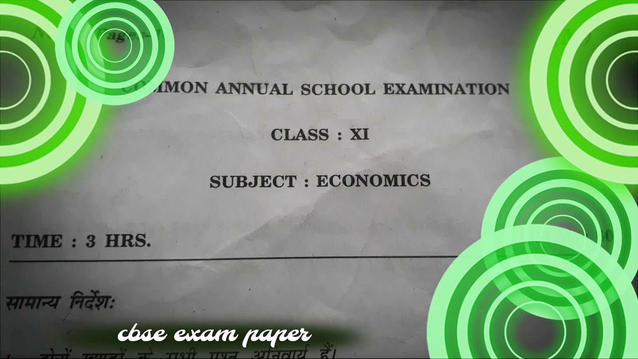 cbse exam paper 11th class economics final paper (2018 ...