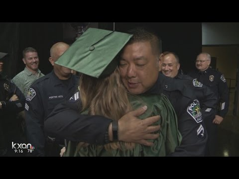 Austin police cheer on daughter of fallen officer at her graduation