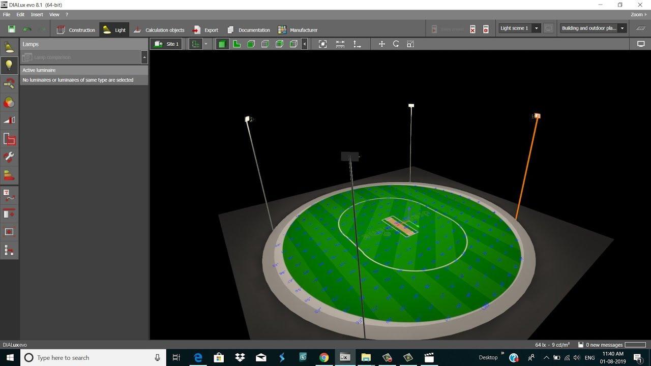 Dialux Evo Tutorial Stadium Lighting Sport Lighting Gemini Youtube