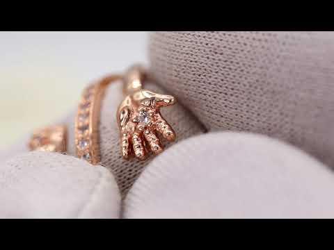 EliteGold - кольцо ручка ножка с фианитами на рождение ребенка в красном золоте