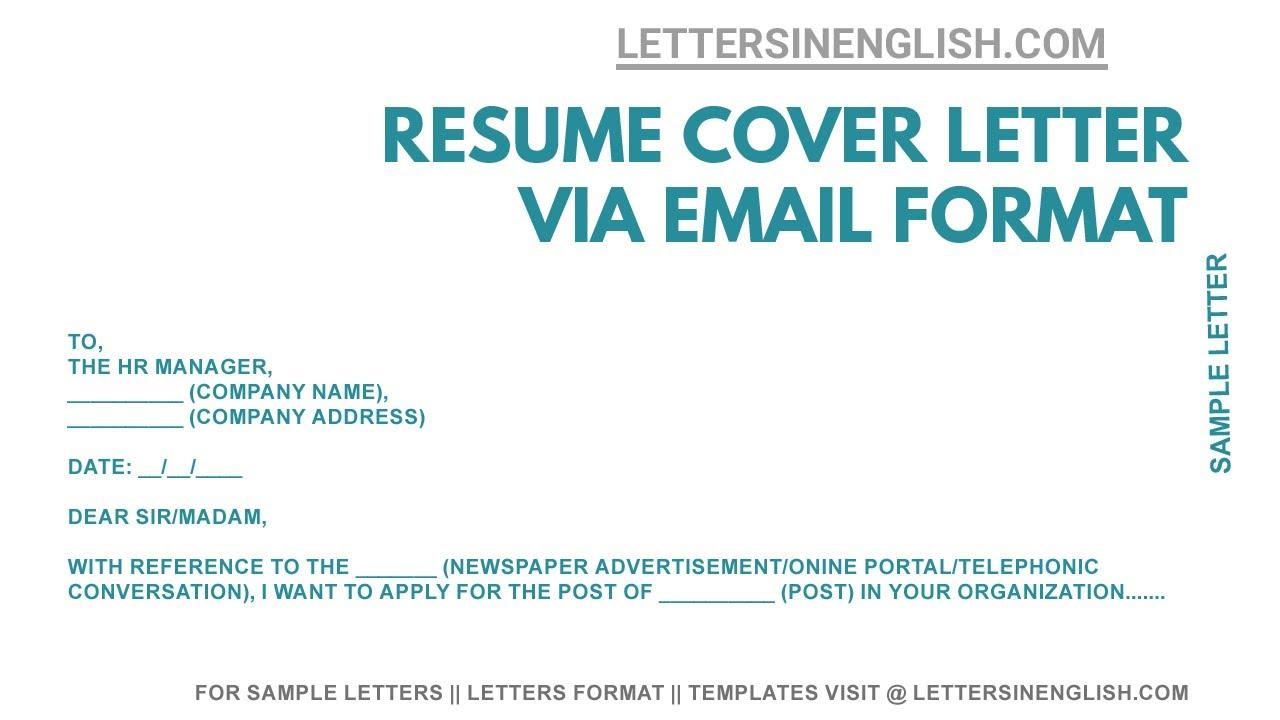 Cover Letter For Resume Cover Letter Sending Resume Via Email Youtube