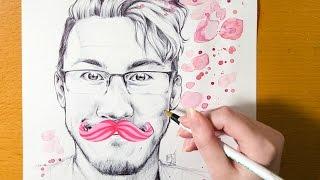 Speed Drawing YouTubers - MARKIPLIER  (Ballpoint Pen Portrait)