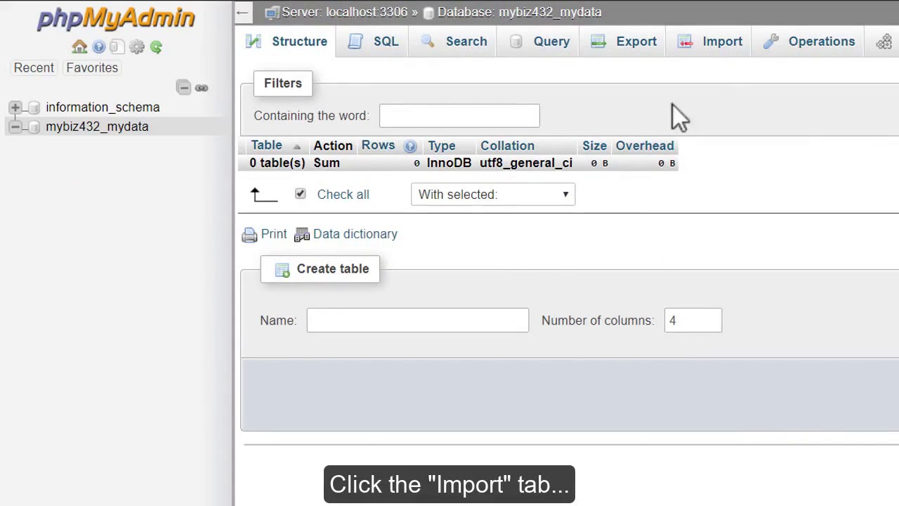Importing databases and tables with phpMyAdmin.