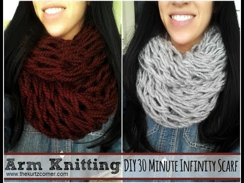 Crocheting Using Your Arms : DIY Arm Knitting - 30 Minute Infinity Scarf - YouTube