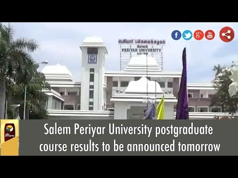 Salem Periyar University postgraduate course results to be announced tomorrow