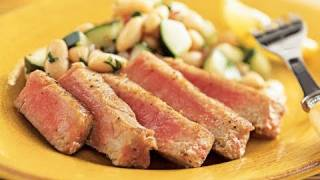 Tuna With White Bean Cucumber Salad
