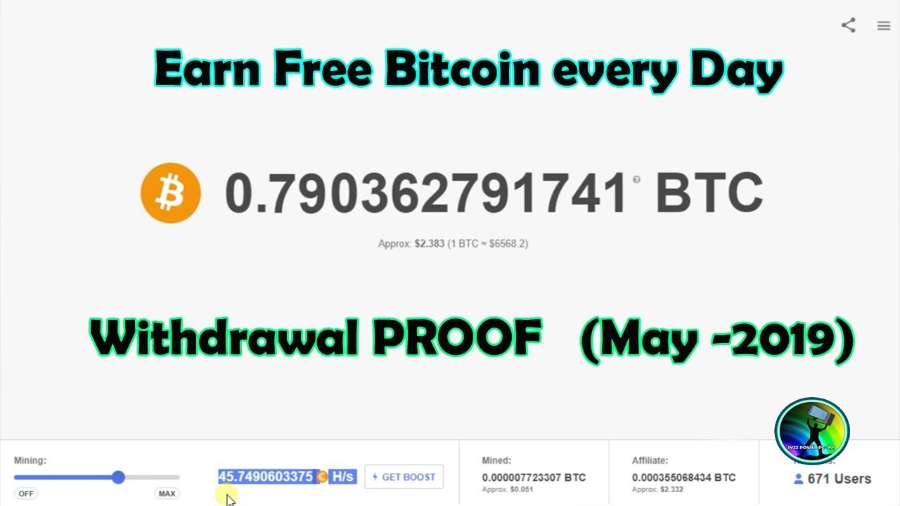 Earn Free Bitcoin Every Day Withdrawal Proof May 2019 -
