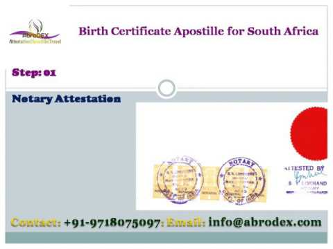 Birth Certificate Apostille for South Africa - YouTube