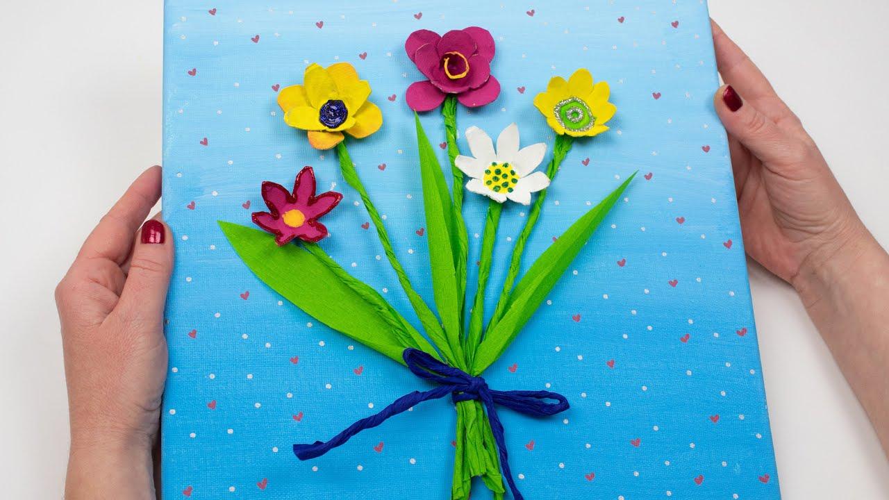 Cómo hacer un cuadro de flores con una huevera - Manualidades originales  para regalar - YouTube