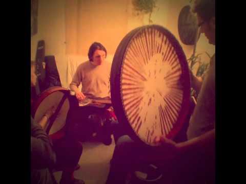 Daf, a kurdish persian music instrument with guitar and Irish Bodhran Drum
