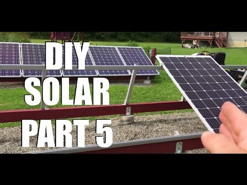 New DIY Ground Mount Solar Installation AC-Grid-Tied Part 5 (Racking & Panel Installation)