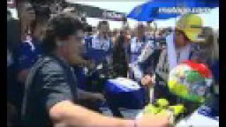 Diego Maradona and Valentino Rossi at the San Marino GP