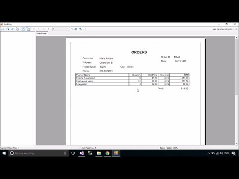 C# Tutorial - Print Orders/Receipt using Crystal Report | Fo
